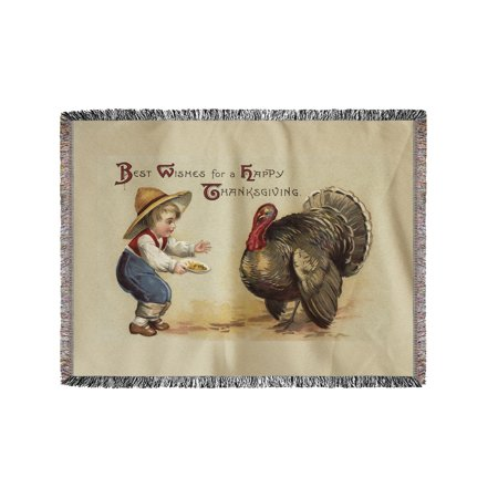 Best Wishes for a Happy Thanksgiving - Boy Feeding Turkey (60x80 Woven Chenille Yarn