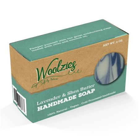 Woolzies 100% Natural Soap Bar, Shea Butter & Lavender, 4 Oz