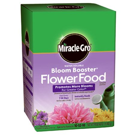Miracle-Gro 1360011 Water Soluble Bloom Booster Flower Food, 10-52-10, 1-Pound, For all blooming plants By