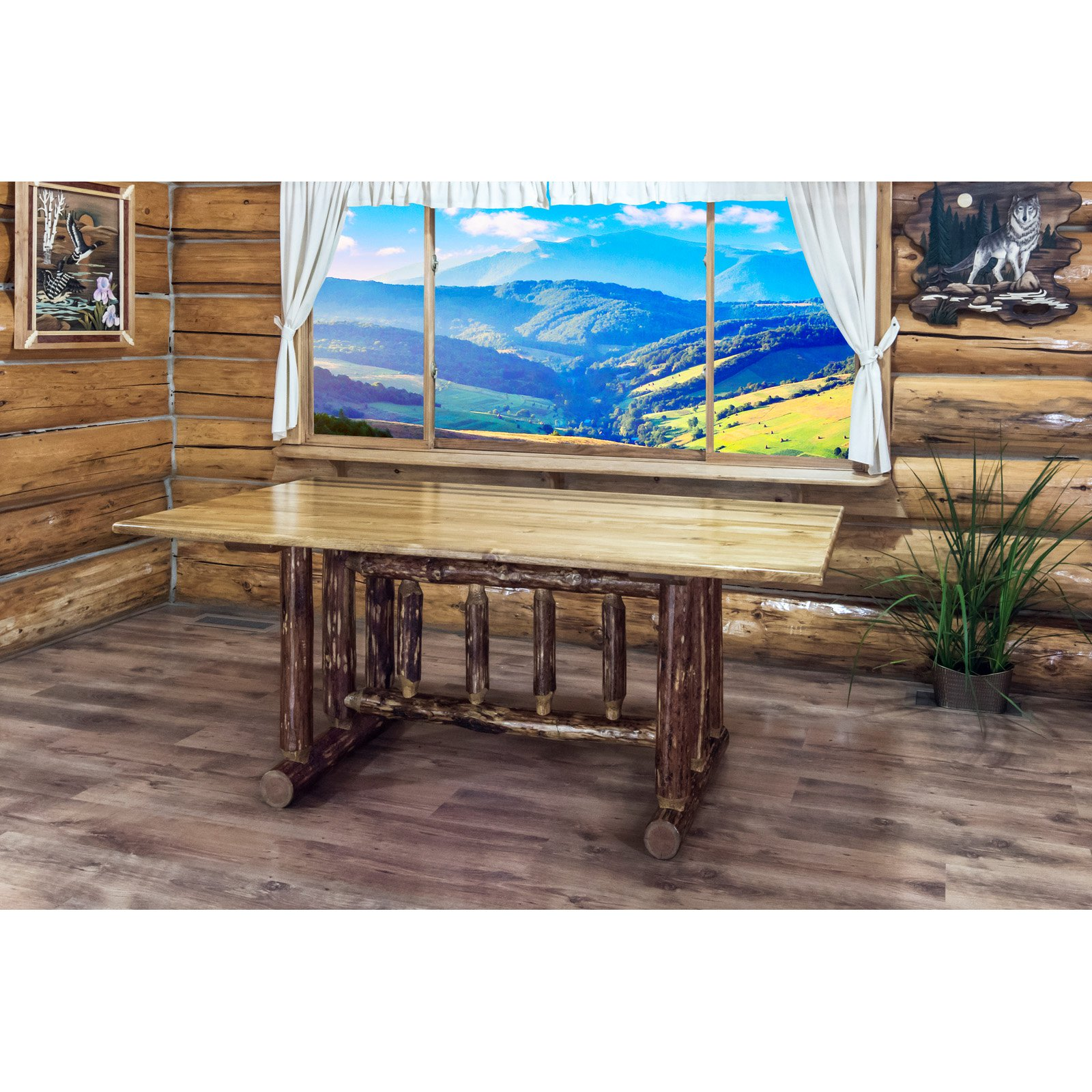 Montana Woodworks Glacier Country Trestle Dining Table