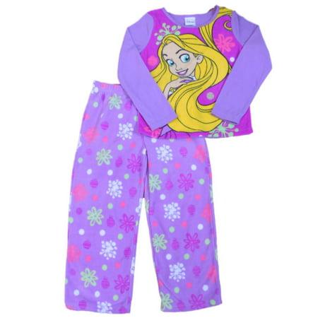 Disney Girls Purple Rapunzel Fleece Pajama Top & Bottoms 2 Piece Sleep Set PJs