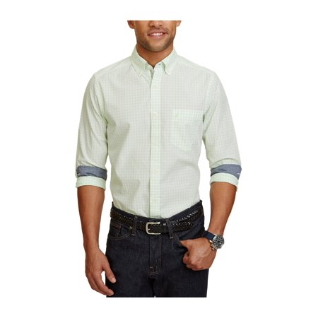 553348f2 Nautica Mens Classic Gingham Button Up Shirt palecoral XL - image 1 of 1 ...
