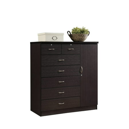 Hodedah 7-Drawer Chest with Locks on 2-Top Drawers plus 1-Door with 3-Shelves, Multiple -