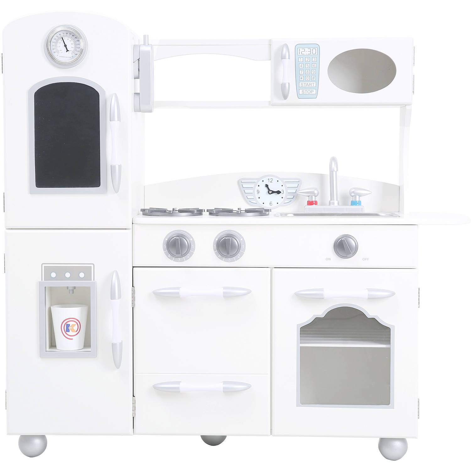 Teamson Kids - Retro Wooden Play Kitchen with Refrigerator, Freezer, Oven and