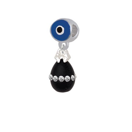 Black Easter Egg with Clear Crystal Band - Blue Evil Eye Charm Bead