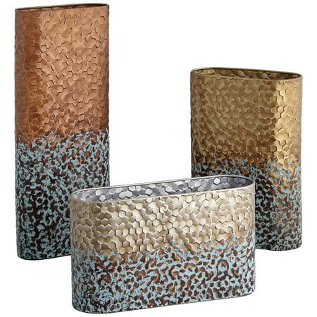 Kensington Hill Calaveras Textured Two-Tone Rustic Vases Set of 3