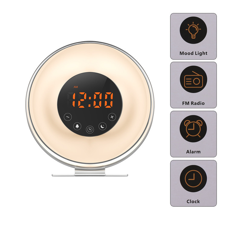 Wake up light, New Digital Alarm Clock with FM radio & 6 alarm sound, Sunrise and Sunset Simulation & 7 Auto Switch Colors LED Night Light for Bedside, Adults and kids