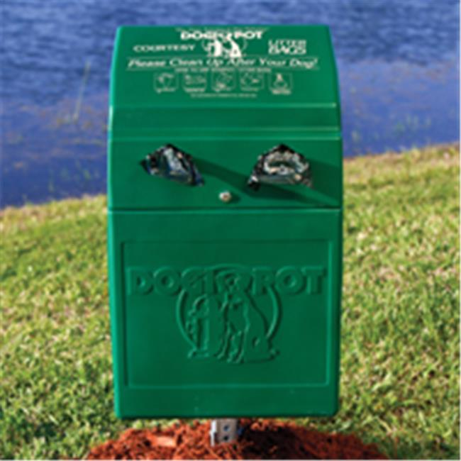 Dogipot 1005-2 Dog Valet Polyethylene Pet Waste Station & Receptacle, Forest Green