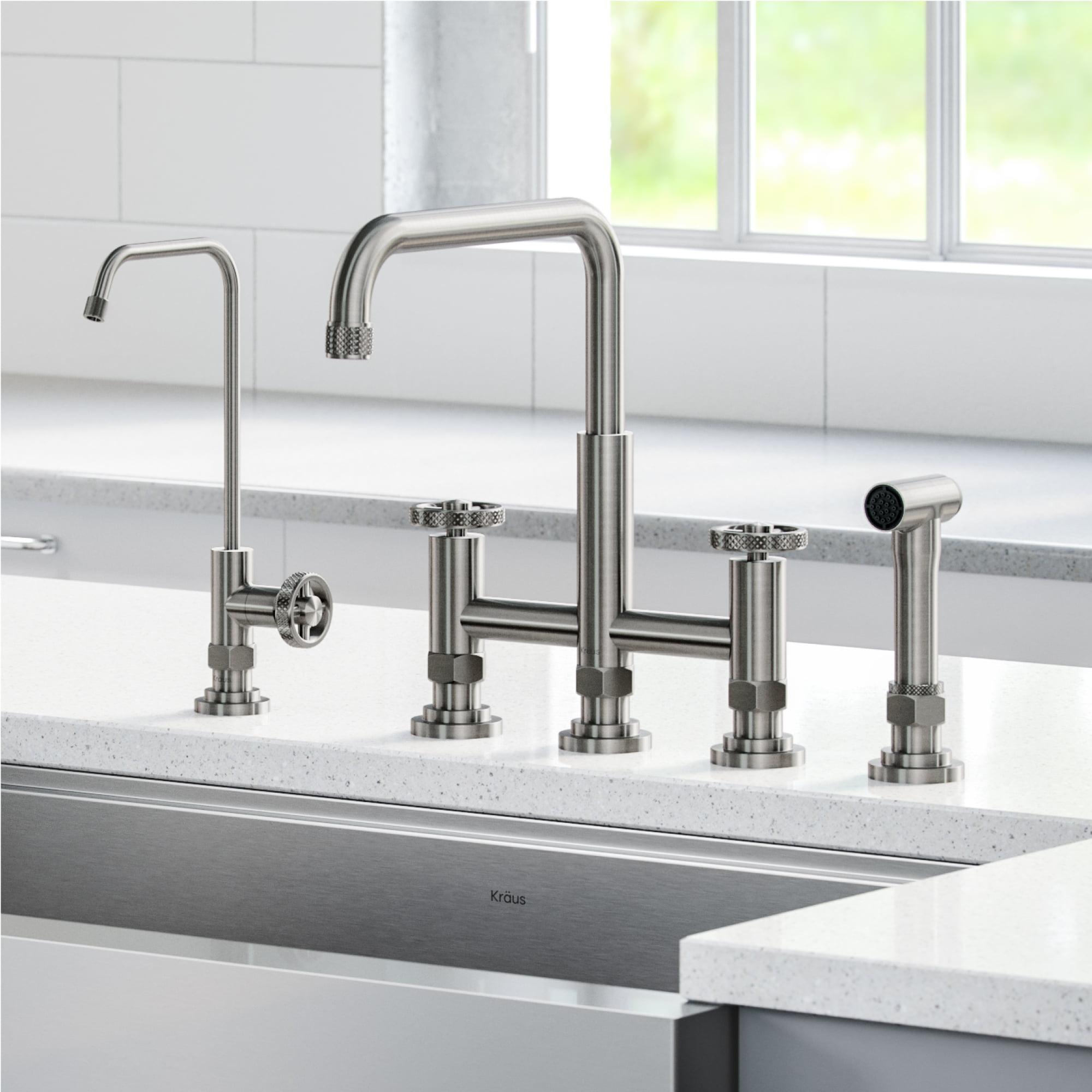 Kraus Urbix Industrial Bridge Kitchen Faucet And Water Filter Faucet Combo In Spot Free Stainless Steel Walmart Com Walmart Com