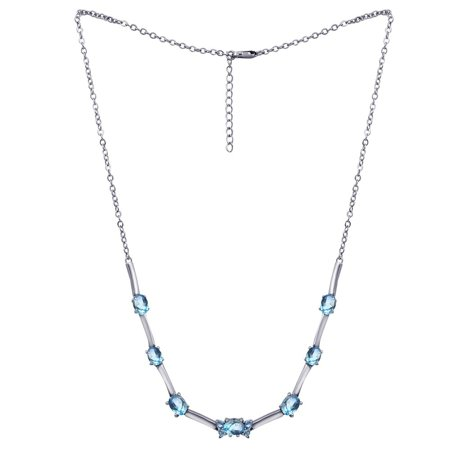 Turquoise Open Link (9.4 Carat Blue Topaz Oval Cut & Round Cut December Birthstone Link Necklace 925 Sterling Silver  Necklace for Women by Orchid Jewelry )