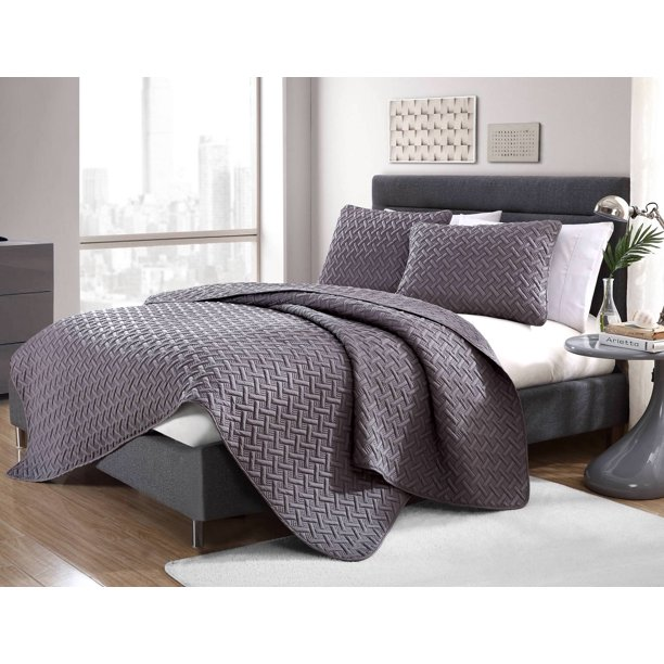 Nina Basket Weave Ultra Soft 3 Piece Full/Queen Quilt Set