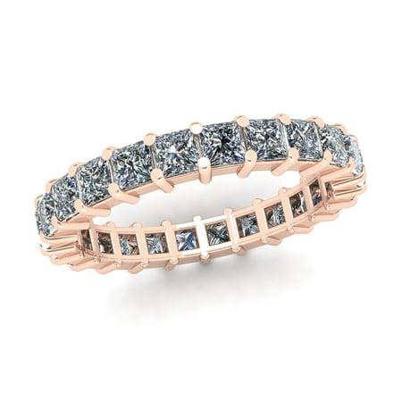 - Natural 2.70Ct Princess Cut Diamond Shared Prong Women's Anniversary Wedding Eternity Band Ring Solid 18k Rose Gold F VS2