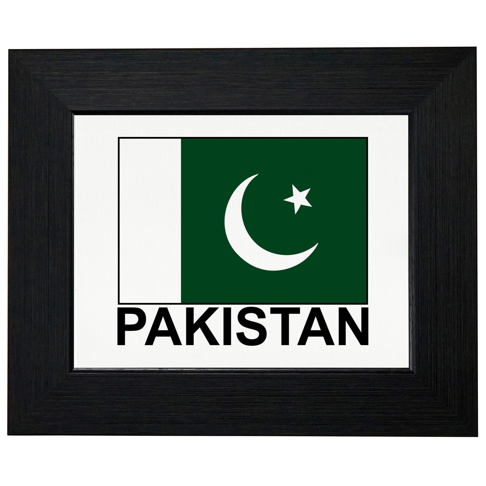 Pakistan Flag - Special Vintage Edition Framed Print Poster Wall or Desk Mount Options