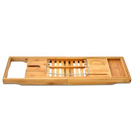 Expandable Bathtub Rack Caddy Bamboo Wood Shelf Shower Book Table Tray Holder - image 9 of 9