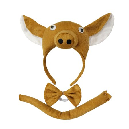 Perform Prop Animal Pig Set Zoo Headband Ears Bow Tail Fancy Dress for Kids (Pig Ear Headband)