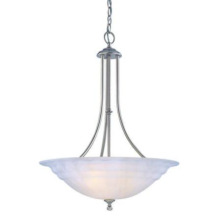 Dolan Designs Richland - Three Light Pendant, Satin Nickel Finish with Alabaster Glass