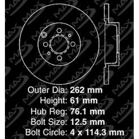 Max Brakes Rear Performance Brake Kit [ Silver Zinc Slotted Drilled Rotors + Ceramic Pads ] KT093312 | Fits: 2001 01 2002 02 2003 03 2004 04 2005 05 Kia Magentis - image 3 de 8