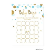 Baby Bingo Game  Baby Blue Gold Glitter Baby Shower Games, 20-Pack