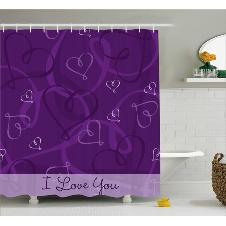 Romantic Shower Curtain Lavender Colored Themed Image With Hand Drawn Hearts Fabric