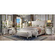 Acme Picardy Bed in Fabric & Antique Pearl, Multiple Bedsizes