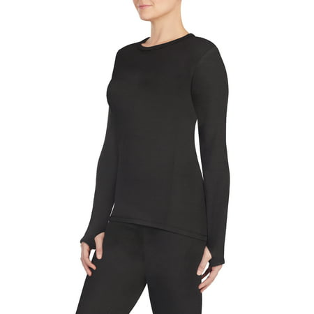 Women's Strech Luxe Velour Warm Underwear Long Sleeve (Black Velour Thermal)