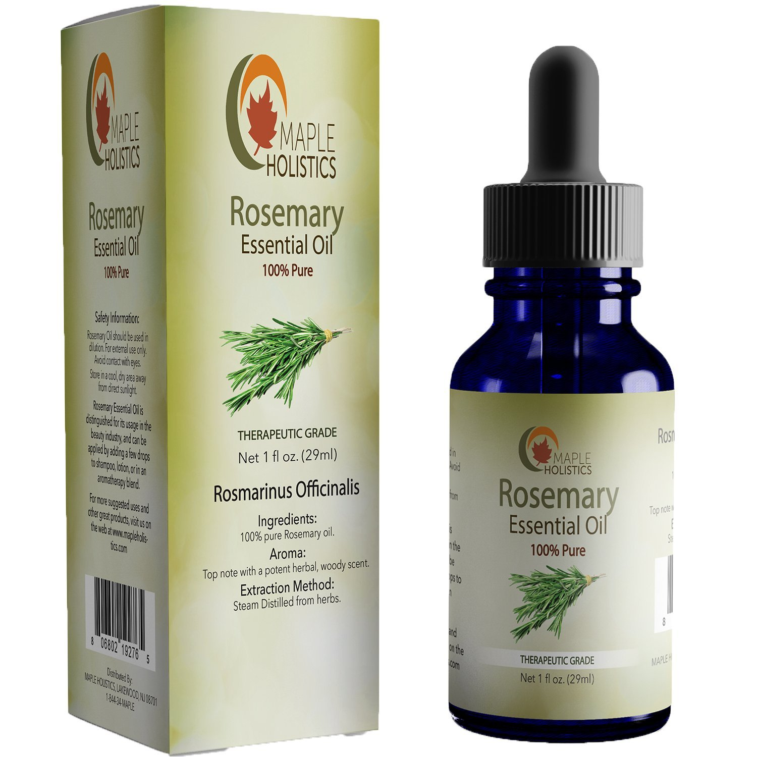 Maple Holistics 100% Pure Rosemary Oil, Skin & Hair Benefits, Natural Skin & Hair Care Product, 1 Oz