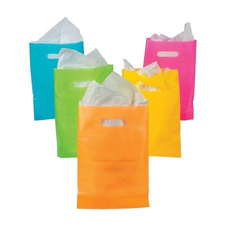 Fun Express - Neon Plastic Bags - Party Supplies - Bags - Plastic Bags - 50 Pieces