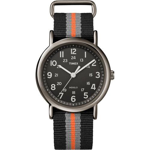 Timex Unisex Weekender Watch, Gray/Orange Stripe Nylon Strap