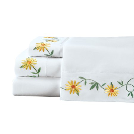Daisy Embroidered Sheets Set with Greenery Accents, Includes Top Sheet, Fitted Sheet and Pillow Cases - Seasonal Décor for Bedroom, Queen, (Glass Accent Sheet)