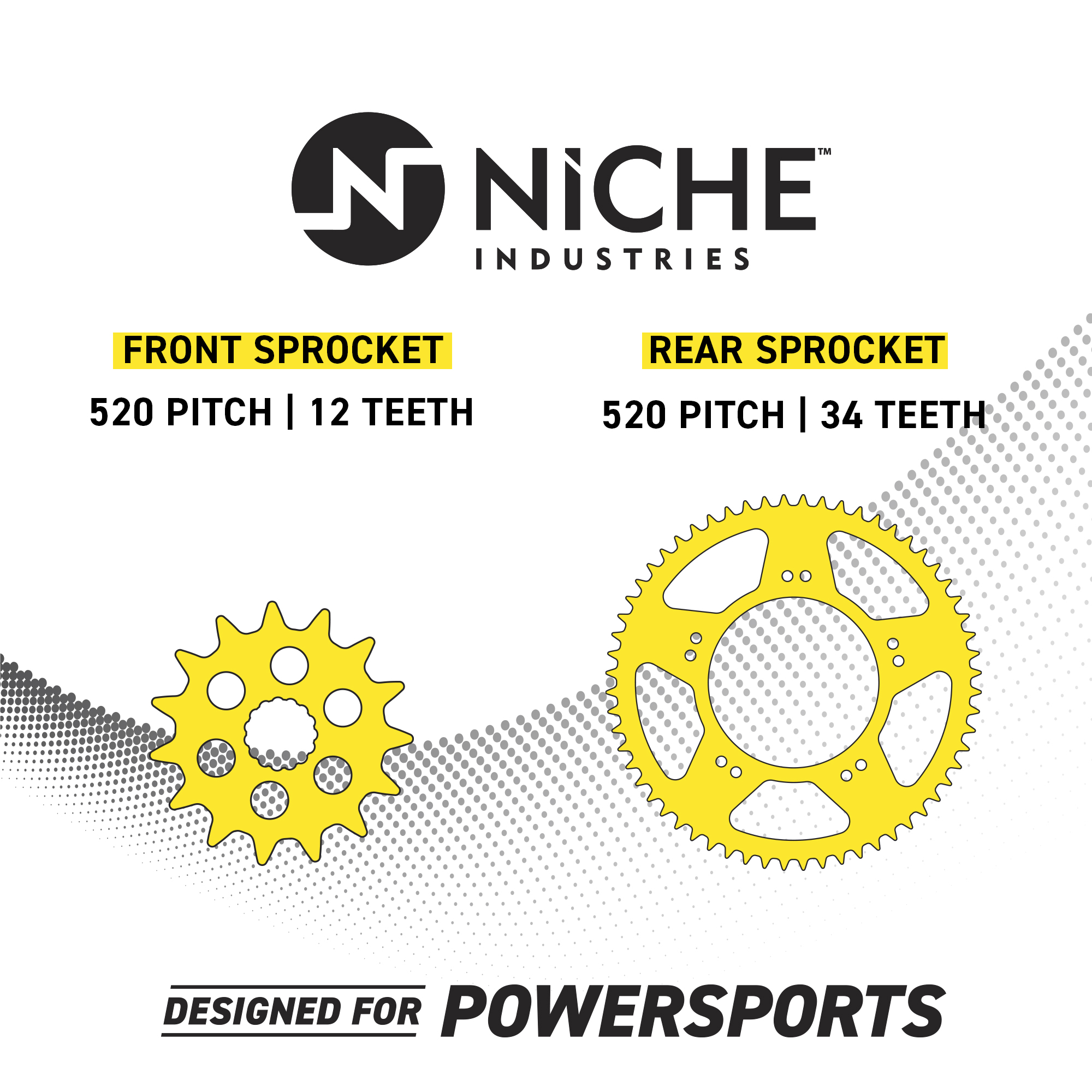 NICHE Drive Sprocket Chain Combo for Polaris Sportsman 400L 4x4 W938039 Front 11 Rear 34 Tooth 520V O-Ring 64 Links