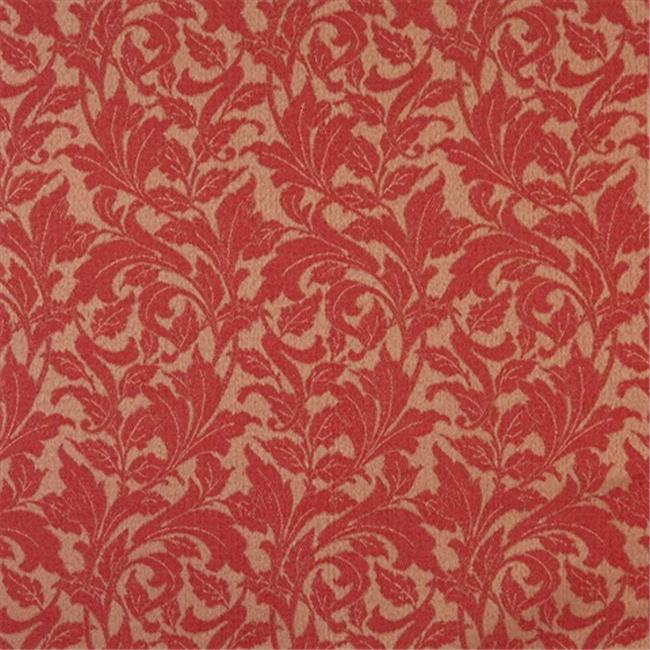 Designer Fabrics F606 54 inch Wide Red, Floral Leaf Outdoor, Indoor, Marine Scotchgarded Fabric
