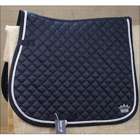 Black Saddle String (FULL BLACK HORZE SILVER CORD HORSE COTTON ENGLISH SADDLE PAD EMBROIDERED CROWN)
