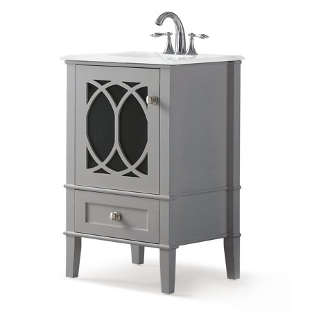 Brooklyn + Max Denning 20 inch Contemporary Bath Vanity in Warm Grey with White Engineered Marble Top