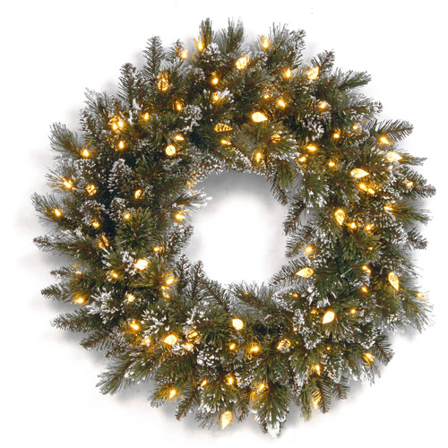 "National Tree 24"" Glittery Bristle Pine Wreath with 50 Soft White LED Lights"