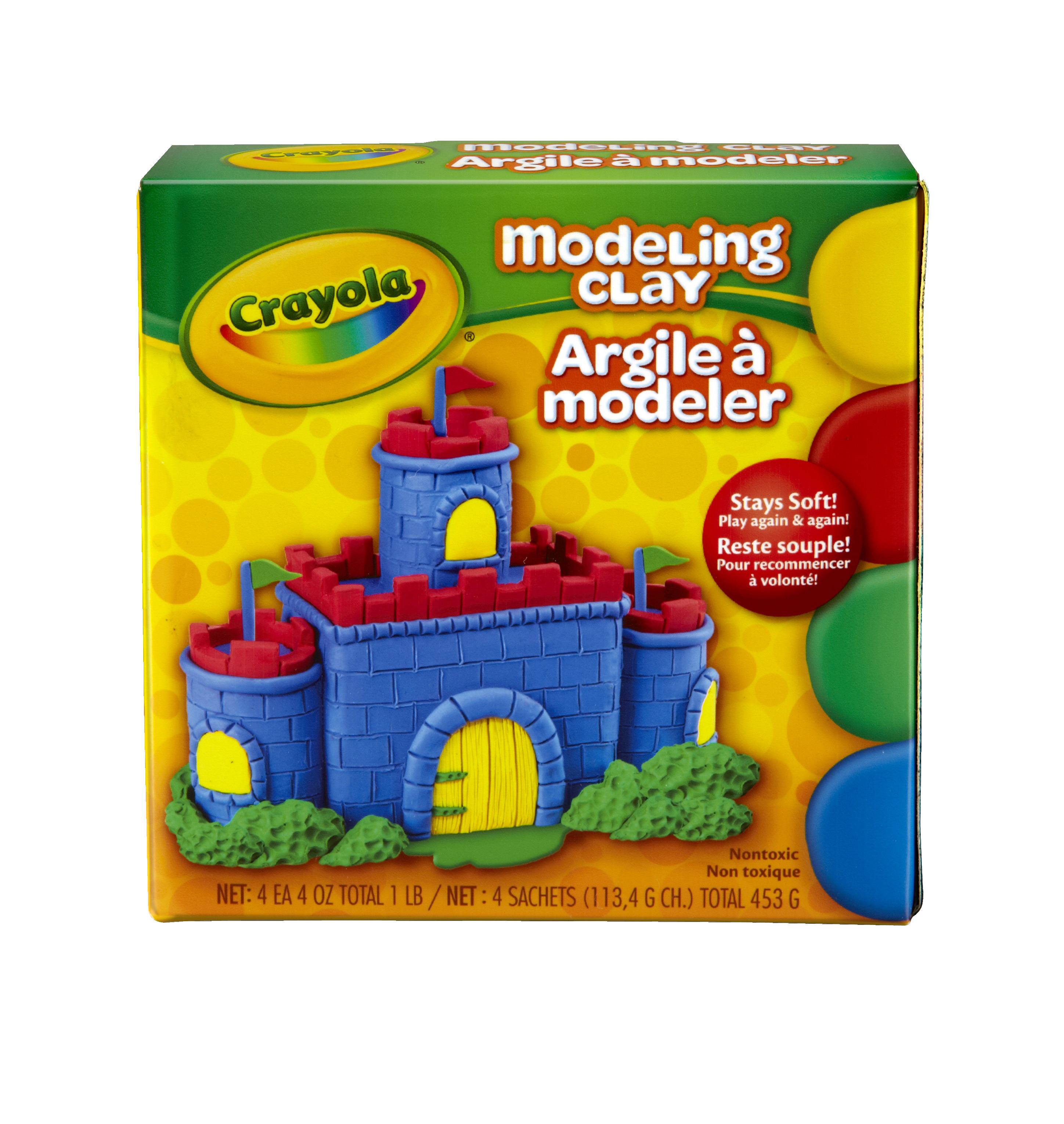 Crayola Model Magic Non-Toxic Modeling Clay Set, 0.25 lb, Assorted Color, Set of 4