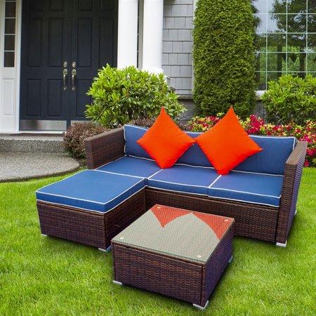 3 Piece Outdoor Rattan Furniture Sofa, Patio Furniture Set, Manual Weaving Wicker Conversation Set, Rattan Sectional Sofa with Table, Ottoman & Cushion, Backyard Porch Balcony Use Furniture Set, B686