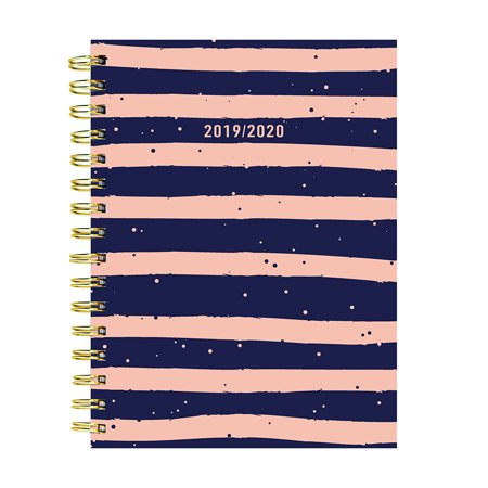July 2019 - June 2020 Navy & Pink Stripes Medium Daily Weekly Monthly Planner (Mommy Weekly Planner)