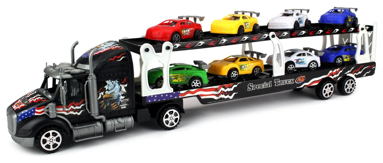 Motorsports Race Car Trailer 1:32 Children's Kid's Friction Toy Truck Ready To Run w  8... by Velocity Toys