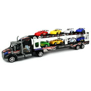 Motorsports Race Car Trailer 1:32 Children's Kid's Friction Toy Truck Ready To Run w/ 8 Toy Cars, No Batteries Required (Colors May Vary)