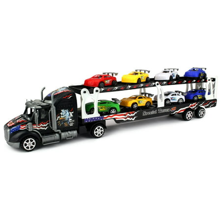 Velocity Racing - Motorsports Race Car Trailer 1:32 Children's Kid's Friction Toy Truck Ready To Run w/ 8 Toy Cars, No Batteries Required (Colors May Vary)