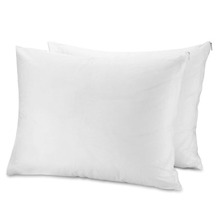 Mastertex Circles Home Cotton Pillow Protector Zippered cover (Set of 2) - White