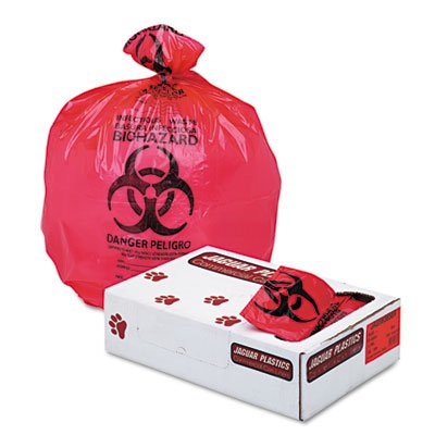"Jaguar IW3658R Health Care ""Biohazard"" Printed Liners, 1.35mil, 36 x 58, Red, 100/Carton"