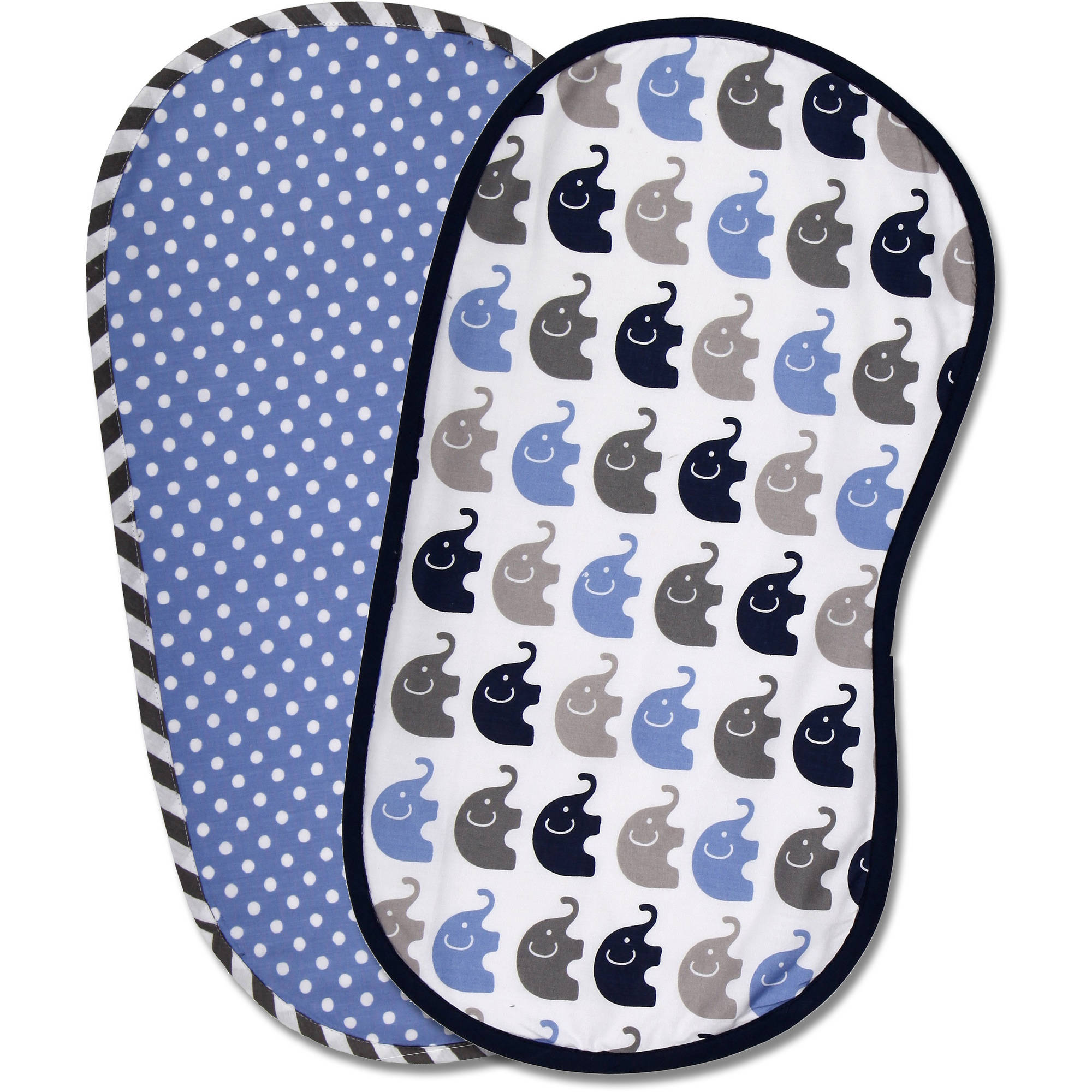Bacati Elephants Burpies, Set of 2, Blue/Gray
