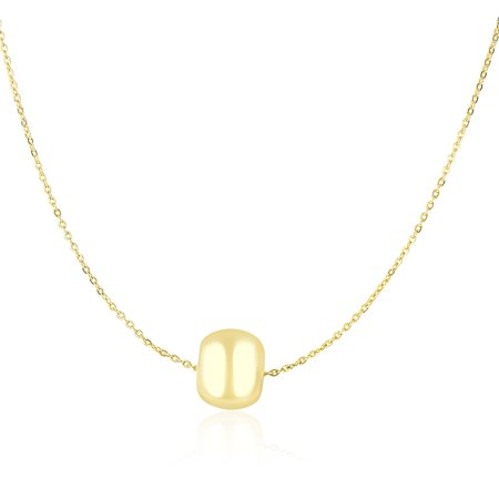 14K Yellow Gold Necklace with Shiny Barrel Bead Charm 14k Gold Barrel
