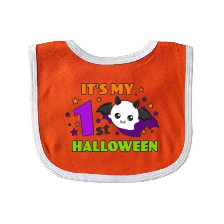 It's My 1st Halloween with Ghost Baby Bib Orange/White One Size](Halloween Date Nz)