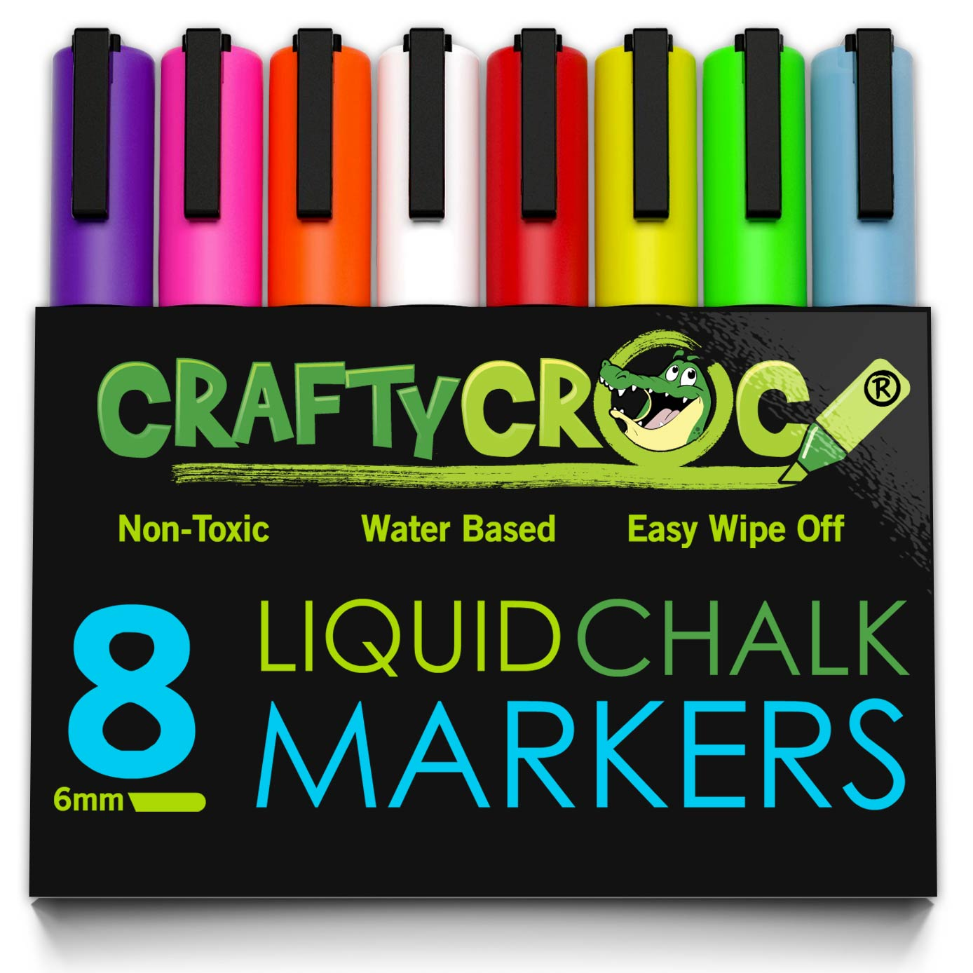 Crafty Croc Wet Erase Liquid Chalk Markers, Pack of 8 Vibrant Neon Colors