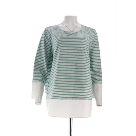 Stripe Cuff Shirt - Martha Stewart Striped Knit Top Poplin Cuffs Hem A309314