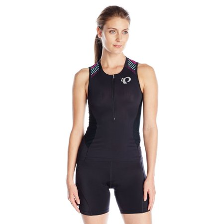Pearl iZUMi Women's Elite Pursuit Tri SL Jersey, Black/Purple Wine Stripe SZ
