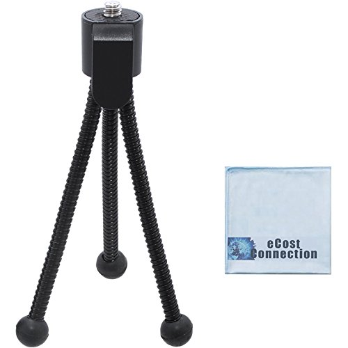 5 Inch Mini Tripod w/ Spider Flex Legs + a Micro Fiber Cleaning Cloth with eCostConnection Microfiber Cloth