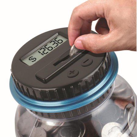 Counting Piggy Bank (Huppin'sClear Digital Piggy Bank Coin Savings Counter LCD Counting Money Jar Change)